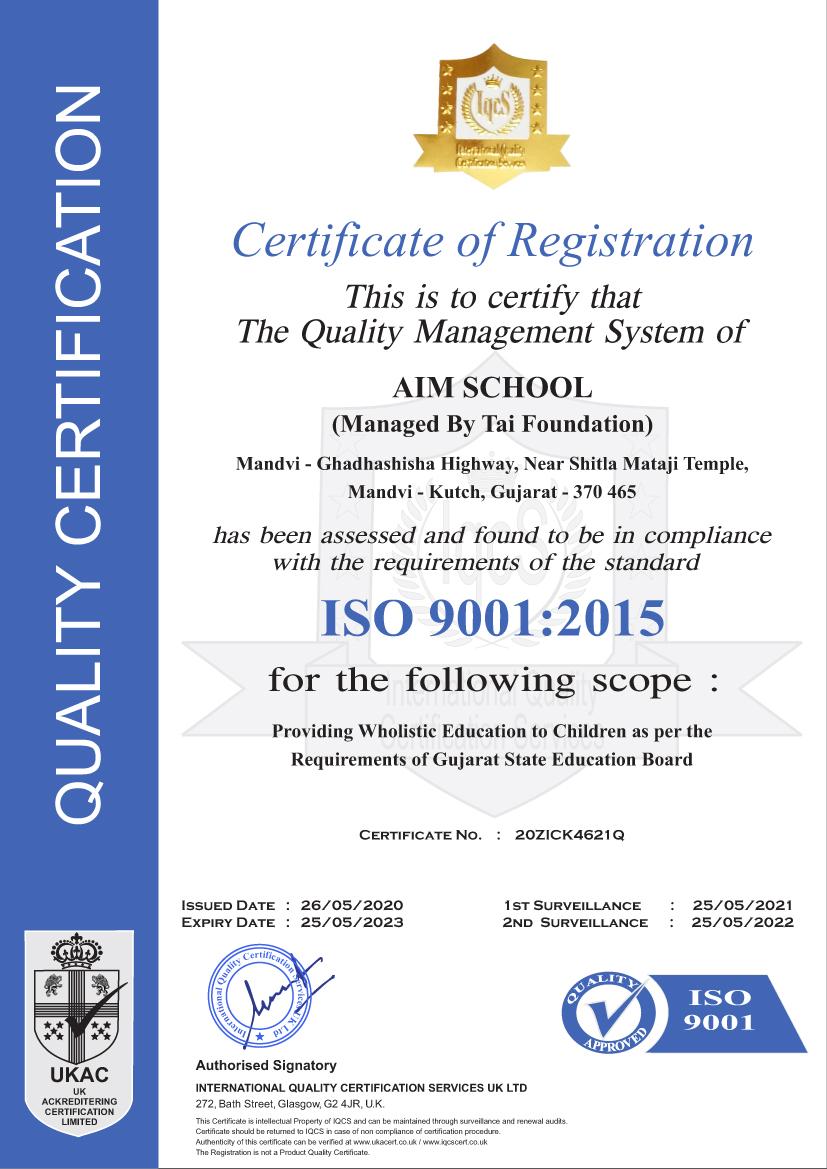 AIM SCHOOL - ISO Certificate
